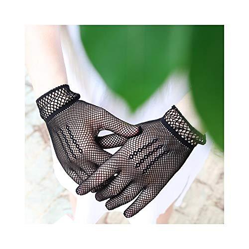 Weiblich Kostüm Paar - Nuofake Handschuhe Dünne Spitze Sonnencreme Handschuhe weibliche Braut Hochzeit Handschuhe Partei Phantasie kostüm 2 Paar fischernetz Handschuhe (Color : Black, Size : L)