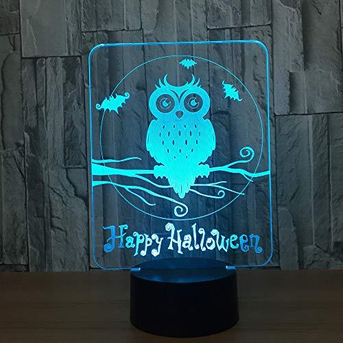 Happy Halloween Owl Nachtlicht Atmosphäre Tisch Schreibtischlampe Kinderzimmer Nachttischlampe Schlaflampe Geschenk 3D Led 7 Farbwechsel