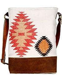 Handmade Abstract Design Leather And Rug Tote Shoulder Bag Stylish Shopping Casual Bag Foldaway Travel Bag