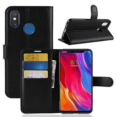 Capa Maxku Xiaomi Mi 8 Xiaomi Mi Caso 8 SE em couro carteira com suporte preto