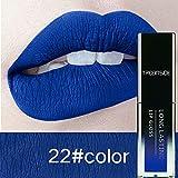 Eolunt - 24 Colore liquido rossetto trucco waterproof Mate duraturo Make Up Nude Lip Gloss Rosso Viola Blu Nero Ultra rossetto opaco [22]