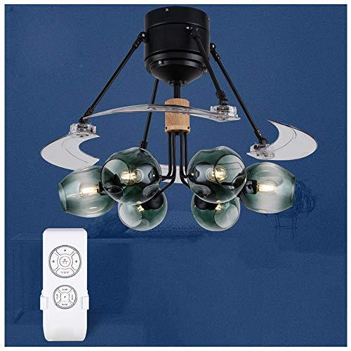 CLCYL Waldwind Unsichtbare Deckenventilator Licht Wohnzimmer Nordic Magic Bean Fan Licht Lampe Home Restaurant Mit Lüfter Kronleuchter,Green (Motor Lasko-fan)