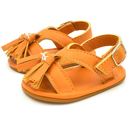 BZLine® Baby Neugeborenen Quaste Walking Schuhe Sandalen Soft Shoes Non-Slip shoes Orange