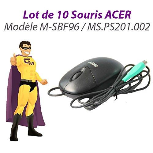 Pack 10x Optische Maus Ps/2- Acer M-SBF96 Ms. PS201.002 3 Tasten Schwarz 400-DPI PC -
