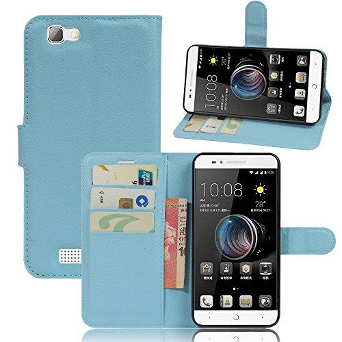 ZTE blade A610 Hülle, KuGi ® ZTE blade A610 Häuse - Hochwertige Ständer PU-Leder-Mappen-Kasten für ZTE blade A610 4G LTE Smartphone.(Braun)