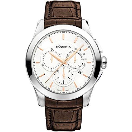 Rodania 25071–23–Montre de Poignet pour homme, bracelet en cuir marron