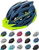 Meteor Casco Bici per Giovani e Adulti Donna e Uomo Caschi per Downhill Enduro Ciclismo MTB Helmet Ideale per Tutte Le Forme di attività in Bicicletta Marven (L(58-61cm), Blu/Verde)