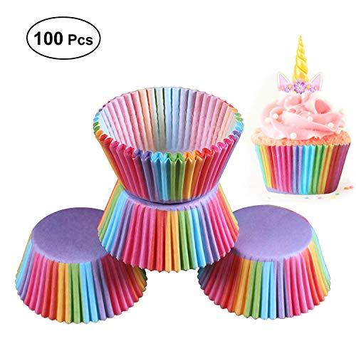 ffin Papierbackförmchen Cupcake Liners Cup Papierförmchen Muffinförmchen Cupcake Förmchen Backförmchen Muffin Form Cupcake Förmchen Muffinform (Regenbogen Farbe Wrap) ()
