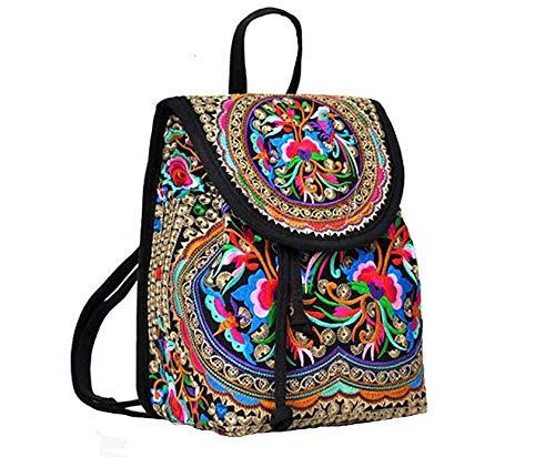 Wuaz vintage etnici borse a spalla stile zaino ricamo della ragazza delle donne della tela di canapa satchel unico di disegno zaino