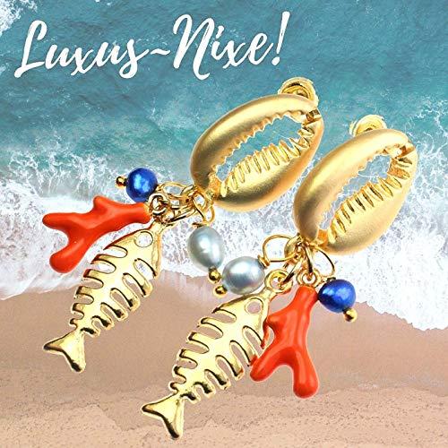 Muschel Ohrringe gold Perlenohrhänger echte Zucht- Perlen Fischanhänger Emaille - Korallen