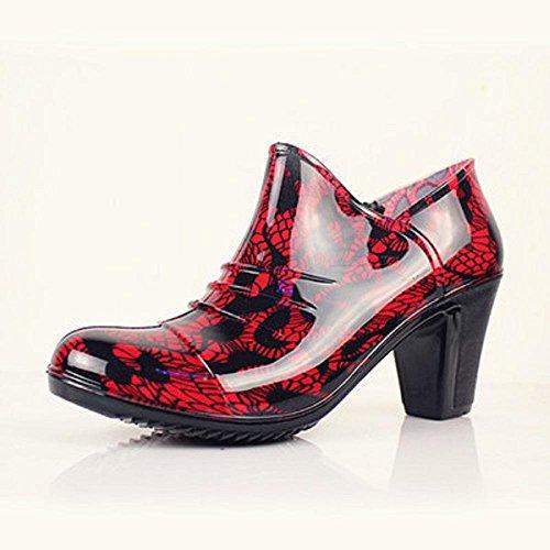 Frühling Mode Ms. Low helfen regen Stiefel Red