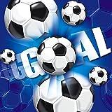 Hoffmann 9632 JT Servietten Fußball, circa 33 x 33 cm, Blau (20-er Pack)