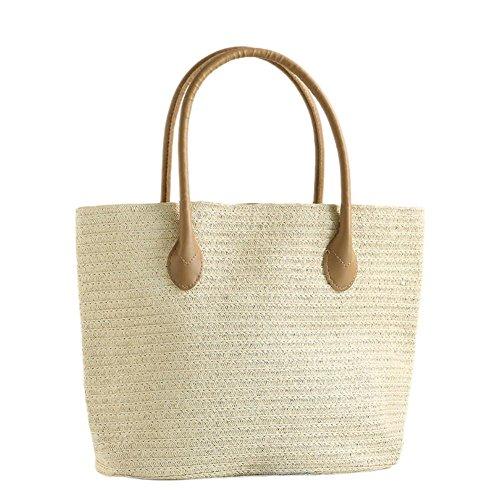Sonnenbrillen-tragetasche Mehrere (camphiking Stroh Beach Bag von Handgemachter, modischem Simple Casual Woven Tragetaschen für Frauen, Hanbag Schultertasche von New Arrival europäischen Stil für Damen, E)