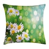 Juchenjixie - Funda de cojín con diseño floral, diseño de flores de margaritas, paisaje rural,...
