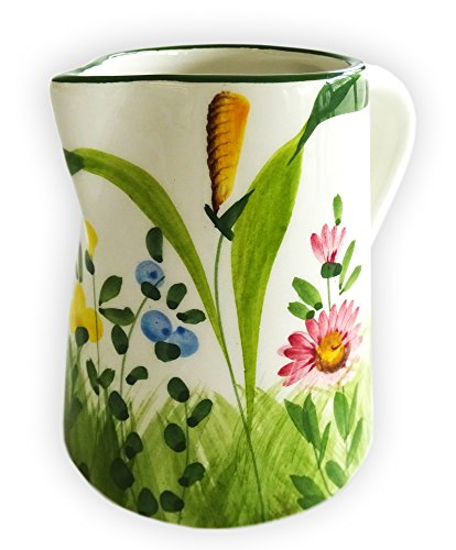 Lashuma Handgemachtes Milchkännchen aus Italienischer Keramik, Sahnekännchen mit Blumenwiese...