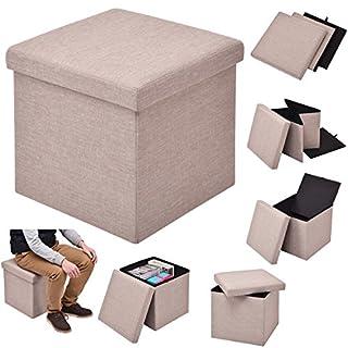COSTWAY Sitzhocker mit Stauraum Sitzwürfel Sitzbox Sitzbank Aufbewahrungsbox Ottomane faltbar Farbwahl 38x38x38cm (Hellbraun)
