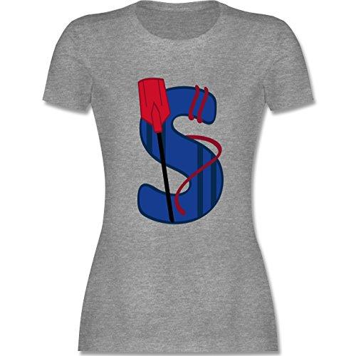Anfangsbuchstaben - S Schifffahrt - tailliertes Premium T-Shirt mit Rundhalsausschnitt für Damen Grau Meliert