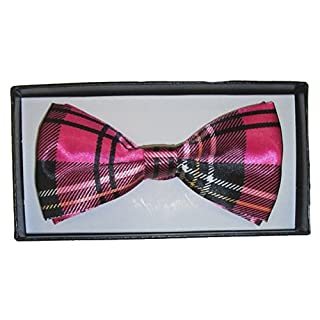Celtic Tartan Check Satin Dickie Bow Tie with Simple Clip Catch Pink