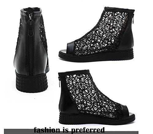 Peep Toe Pompini Charming Stivali Stivali Stivali Nero Stivali 40/41/42/43 Sandali Grande Dimensioni per le Donne Black