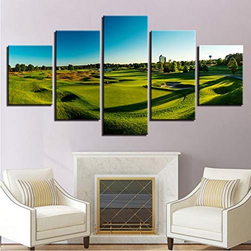 shuyinju No Frame Modulaire Pas Cher Photos Toiles 5 Tirages Golf Parc Moderne pour La Peinture Mur Art pour Le Salon Home Decor Artwork