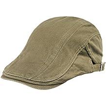 Hombres Mujeres clásico de algodón plana Newsboy Ivy Caps irlandés Taxi Driver Peaked conducción Caza sombreros gorro de invierno, para todas las estaciones, hombre, Khaki 2