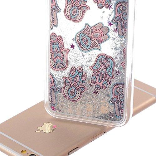 Cover rigida trasparente con liquido e brillantini, effetto 3D, per iPhone 6S Plus (2015) e iPhone 6Plus (2014) da 5,5 pollici, con 1 pellicola salvaschermo e 1 pennino capacitivo Silver Quicksand : Palm