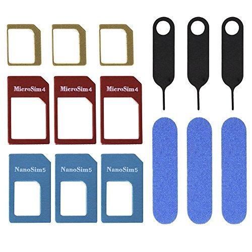 3 Set d'Adaptateur de Carte SIM Nano Micro Standard avec Dossier de Carte SIM et Aiguille