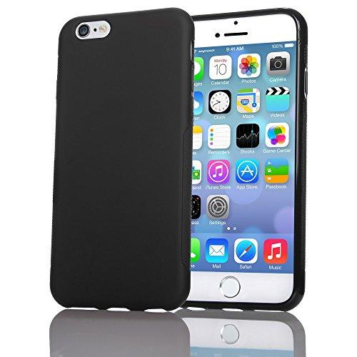 iPhone 6 6S Hülle Handyhülle von NICA, Ultra-Slim Silikon Case Cover Gummihülle, Matte Anti-Rutsch Schutzhülle Dünn, Etui Handy-Tasche Backcover Bumper für Apple iPhone 6S 6 Smartphone - Schwarz (Apple Iphone6 Silikonhülle)