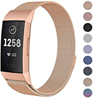 Milanese Mesh Metal Bands Compatible for Fitbit Charge 3 / Charge 3 SE Bands Women Men Small/Large, Replacemen