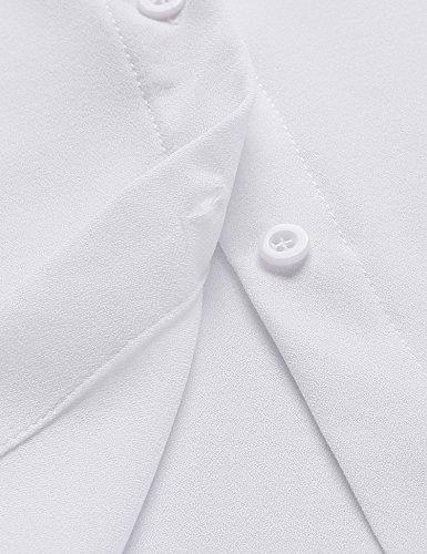 ZEARO Damen Hemd Klassisch Krawatte Bluse Langarmshirt Chiffon Weiß
