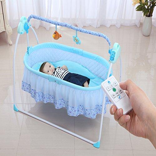 babywiege Multifuntion elektrische Babyschaukel Babybett Automatische Baby Wiege MP3-Player Fermbedinung Batterie und USB Schnittstelle und USB Ladungkabel (ohne Externer Akku)