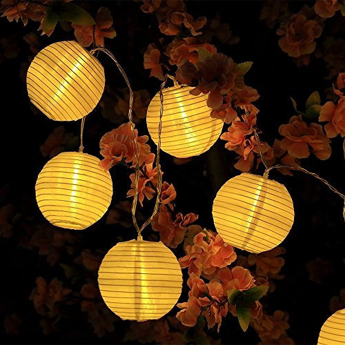 MAVIE LED Solar Lichterkette Lampions, 21.3Ft 6.5M IP65 Wasserdicht Lampion Dekorative Stringed 20er LED String Lights Laternen für Party, Weihnachten, Garten, Halloween, - Lampions Halloween