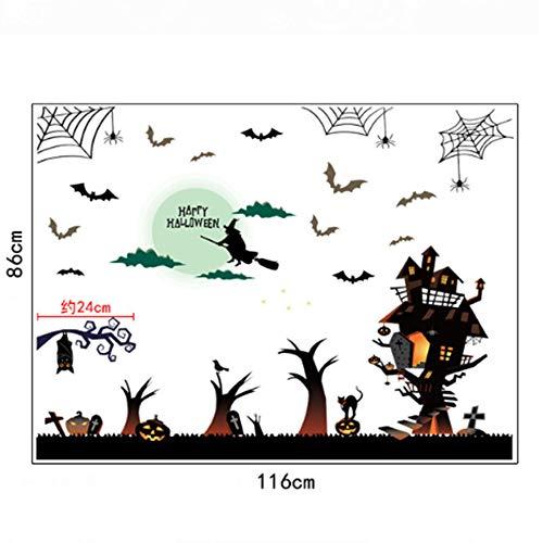 TUWEN Halloween Cartoon Wand Aufkleber Haunted House Bar Ecke Knifflige Dekoration Fenster Aufkleber Glasfenster (Fotos)