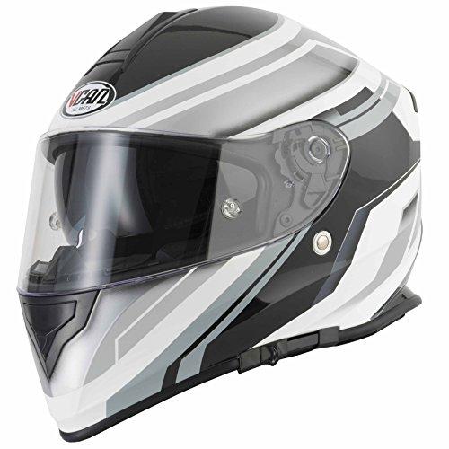 VCAN, Full Face Motorrad/Motorrad Helm–Rasierer silber