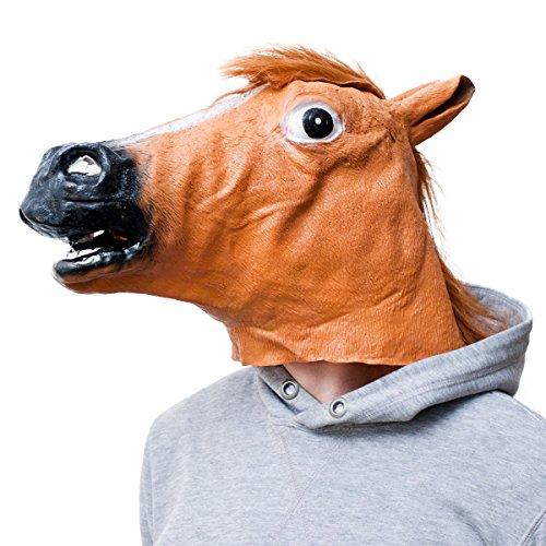 demaske für Karneval & Halloween Pferde Kostüm Maske aus Latex Tiermaske Pferdekopf ()