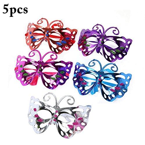 FunPa 5 STÜCKE Damen Maskerade Maske Dekorative Schmetterling Form Karneval Maske Party Halbe Gesichtsmaske