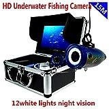 Mr. Fragile Buscador de Peces, 15M Line 1000TVL 7 Pulgadas de Luz Doble Cámara de Pesca Submarina con 12Pcs Night Vision LED, IP68 Impermeable,para Pesca en Lago y Barco