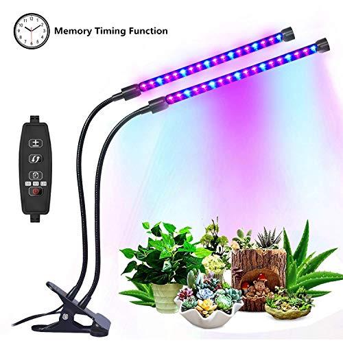 LED Pflanzenlampe, 18W Vollspektrum Wachstumslampe mit Speicherfunktion, Dimmbar 8 Lichtstärken,3 Modi Timer, 360° einstellbar Schwanenhals, Doppelkopf Pflanzenlicht fur Zimmerpflanzen Gemüse und Blumen