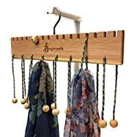 Hangersmith Solid Cedar Wood Hanger with 16 Gentle Cords - Closet organiser to use for Scarves, Bags, Belts, Necklaces, Ties, Caps, Swimming Goggles, and many other Accessories