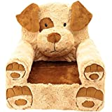 "Sweet Seats Adorable Tan and Brown Dog Children's Chair Ideal for Children Ages 2 and up, Machine Washable Removable Cover,14""L x 19""W x 20"" H"