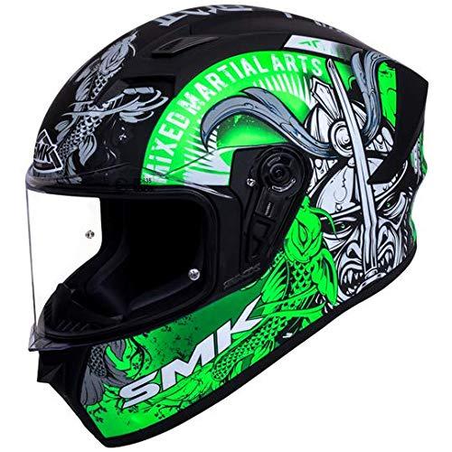 SMK Helmets - Stellar - Samurai - Black Grey Green - Pinlock Anti Fog Lens Fitted Single Clear Visor Full Face Helmet - MA268 (Large - 580 MM)