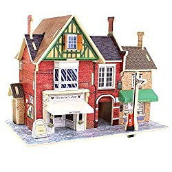 Creative Assemble Puzzle Toys Child Early Education Wooden 3D Puzzle House England Cloth Shop
