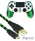 PAXO Silikonschutzhülle/Sleeve + USB-Kabel 3m, Grün-Schwarz, für PS4 Controller