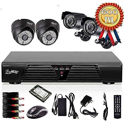 4 canales liview CCTV, H 264 DVR 4 HD 600TVLines impermeable visión nocturna por infrarrojos cámara de seguridad con sistema de vigilancia de vídeo 500B disco duro
