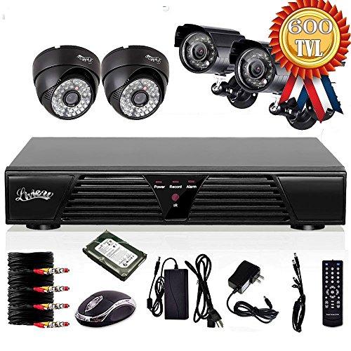 Preisvergleich Produktbild liview® 4 Kanal CCTV H.264 DVR 4 HD 600TVLines Wasserdicht IR Nachtsicht Bewegungserkennung Sicherheit kamera Video Überwachungssystem Set Mit 1TB Festplatte