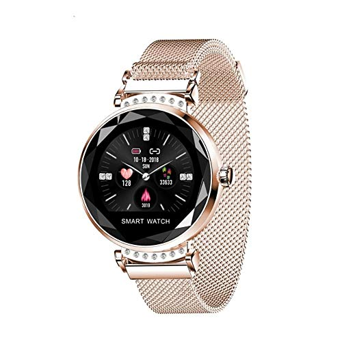 Smart Watch Donna Donna Impermeabile Fitness Tracker Frequenza cardiaca Pressione sanguigna 3D Diamante Vetro Migliore Regalo Dorato