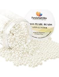 PandaHall Elite 4mm environ 1000Pcs Lustre Satine Perle en verre Rond Beads Perles Assortiment Lot ,Pr creation de bijoux Beige blanc