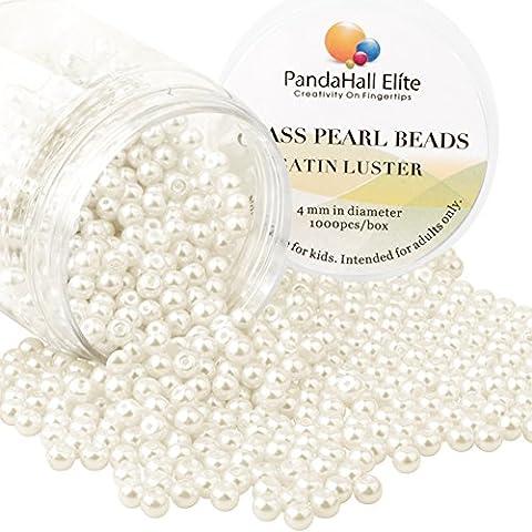 PandaHall Elite 1000PCS Perline Vetro Perlaceo Rotonde Perline Perla Tinte 4mm di Diametro Colore Beige