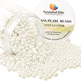 PandaHall Elite 4mm environ 1000Pcs Lustre Satine Perle en verre Rond Beads Perles Assortiment Lot ,Pr creation de bijoux Beige blanc