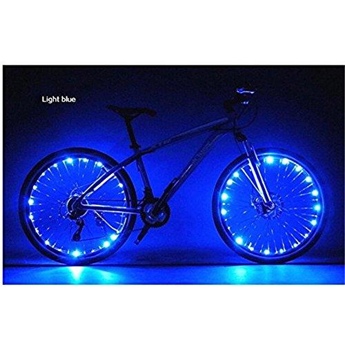 LED Fahrrad Räder Lichter Fahrrad Zubehör Beleuchtung Licht Fahrradbeleuchtung Rad Speichenlicht Lampe 2 Licht-Modi Set USB Wiederaufladbar Wasserdicht Blau-Hmjunboys